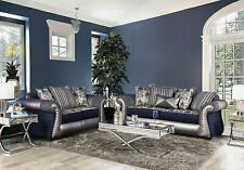 NEW Traditional Living Room Navy Blue Silver Fabric & Leatherette Sofa Set IGD6