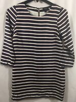 J. CREW Neutral Stripe Basic Shift Sheath Shirt Dress Size 2 Navy Red White