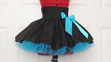 NEW HANDMADE GIRLS BLACK TURQUOISE TUTU MINI SKIRT IRISH DANCE SCHOOL 10 - 12 YR