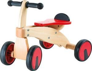 Small foot 10233 Rutscher Roter Raser Lauflernrad aus Holz Gummibereifung Gummi