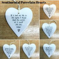 EAST OF INDIA PORCELAIN CERAMIC HANGING HEARTS SENTIMENTAL FRIENDS GIFTS
