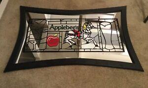 48X29.5x1 (Wood) Black Framed Mirror With Applebee's Logo