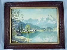 Vtg 12x16 midcentury Mountain Lake landscape art print in vtg carved wood frame