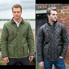 Men's Padded Jacket Diamond Quilted Quilt Pattern Coat Warm Country Gent Top