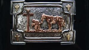 Crumrine Western Belt Buckle Cross Kneeling Praying Cowboy C10103