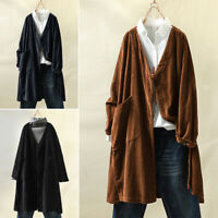 Mode Femme Cardigans Manteau Chemise Couleur Unie Manche Longue Casuel Oversize
