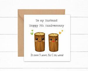 Personalised Husband 5th Anniversary Card 5 years Wood Funny Joke Card Wedding