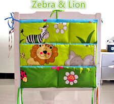 Zebra & Lion Baby cot storage organiser / Nursery pouch bag / Diaper storage bag