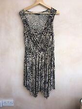 Ladies Tan & Black Patterned Dress Size 10 Dorthy Perkins<NH4343