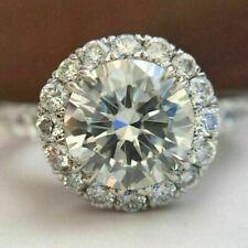 White Moissanite Halo Diamond Engagement Ring 14K White Gold Finish 1.80Ct Round