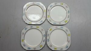 Vintage Alfred Meakin Sunray Set of Four 6 1/2'' Square Side Plates