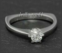 Diamant Solitär Damen Ring, 0,22ct Brillant in River D & Si, 750 Gold, Weißgold
