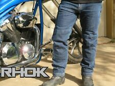 W 32 L 30, Indigo Blue Jet Motorcycle Motorbike Biker Riding Jeans Trousers Pants Men Raw Selvedge Denim Dupont Lined Kevlar Aramid with Armor