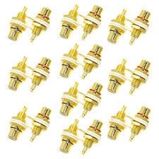 20 Pcs 24K Gold Plated RCA Female Chassis Panel Mount Jack Socket Connector