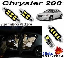 6 Bulbs White LED Interior Dome Light Kit Xenon Lamps For Chrysler 200 2011-2014