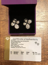3.75ct BLACK SPINEL & WHITE TOPAZ -925 SS EARRINGS - GEMS TV