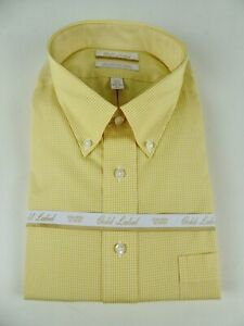 Roundtree & Yorke Gold Label Non Iron EZ NWT Gingham Plaid Cotton Dress Shirt
