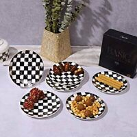 Bone China Dessert Serving Plates Set 6 Pieces (Checkered Design - Round)