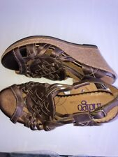 New Clarks Indigo Metallic Mocha  Leather Strappy Cork Wedge Heel Sandals 9 M