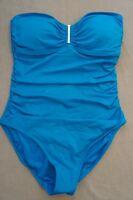 Calvin Klein Swim One Piece Sz 10 Cerulean Blue Srtrapless Swimsuit CG5MS002