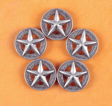 LOT 10PCS 25*25MM WESTERN TEXAS RAISED STAR ANTIQUE SILVER LEATHER CONCHOS TACK