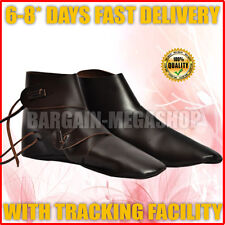 Medieval Leather Shoes Costume Boots for Men Leather Ankle Shoes UK SIZE TEN va2