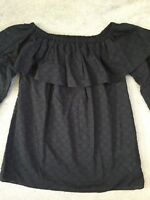 MICHAEL KORS BLACK COTTON PEPLUM TOP WITH RAISED DOTS & LONG SLEEVES - XS - BNWT