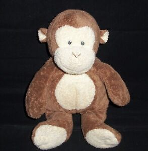 TY Pluffies Baby Dangles Monkey SEWN EYES Brown Soft Safe Plush Stuffed Toy 2002
