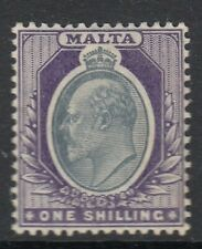 Malta 1904 KEVII  1/- Grey & Violet   SG61 Mint (Hinged) Cat:£50