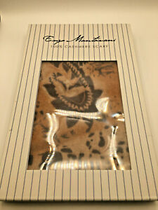 """NEW Enzo Mantovani Italian 100% Cashmere Amber, Brown Floral Fall Scarf 62""""X12"""""""