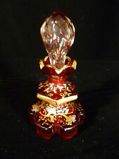 BEAUTIFUL MOSER HAND PAINTED & ENAMELED RUBY GLASS PERFUME BOTTLE - CIRCA 1890