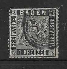 BADEN 1860-62 1k black P13.5 USED
