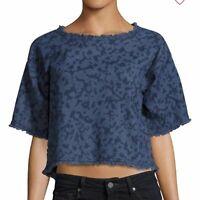 CALVIN KLEIN Women's Boxy Denim Cropped Top Size XS Blue Frayed Short Sleeve