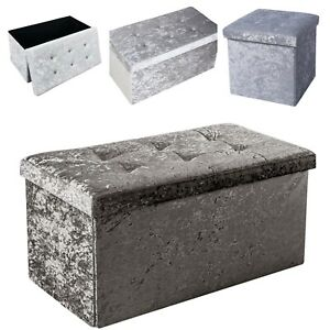 Storage Box Quilted Top Folding Diamante Ottoman Seat Toy Crushed Velvet in Uk