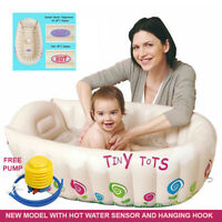 Inflatable Tiny Tots Baby Bath Hot Water Tub Heat Temperature Sensor + Free Pump