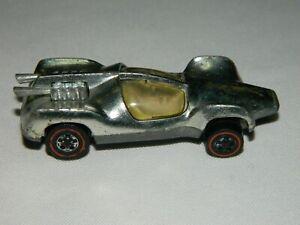 Vintage 1969 Hot Wheels Redline Mantis Car, Silver Color, White Interior,