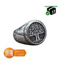 Bague chevalière acier inoxydable 316 L Symbole viking odin thor Valknut Mjolnir