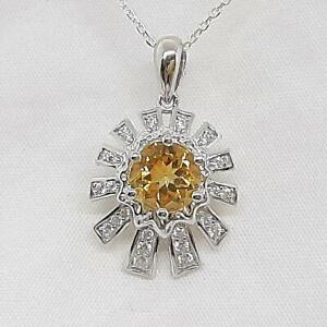 Genuine 1.55ctw Golden Citrine & Diamond Cut White Sapphire 925 Silver Pendant