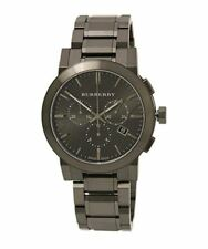 NEW BURBERRY BU9354 MENS BLACK GREY CHECK DIAL CHRONO WATCH - 2 YEARS WARRANTY