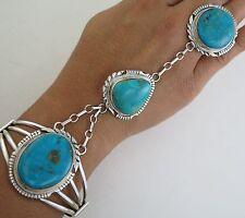 Navajo Esther Spencer Sterling Silver & Turquoise Slave Bracelet Ring Size 7.5+