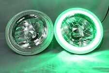 "1975-1979 Ford F-100 F-250 F-350 7"" Round  Green LED SMD Halo Headlights"
