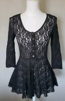 Free People Women's Black Lace Peplum Top 3/4  sleeve  Size XS
