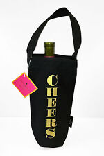 Kate Spade CHEERS Black Canvas & Gold Lettering Wine Tote Bag 158356 001 NWT