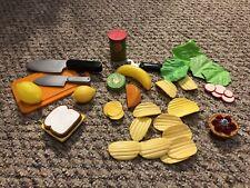 Pretend Play Fake Kitchen Toy Food Lot Sandwich Fruit Knife Potato Chip Juice 10