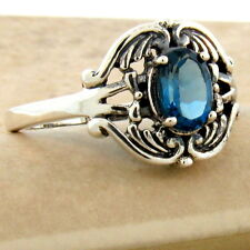 Sterling Silver Ring Size 10, #1004 Genuine London Blue Topaz Antique Style 925