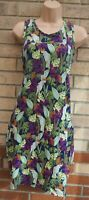 NEXT BLUE GREEN PURPLE FLORAL LEAVES SMOCK TUNIC BAGGY SUMMER DRESS 12 M