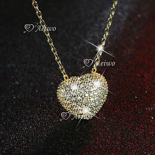 18K WHITE YELLOW GOLD FILLED CRYSTAL 3D PENDANT HEART IN CAGE NECKLACE