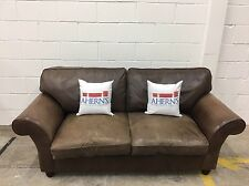 *Lovely Brown Leather Laura Ashley Sofa L🇬🇧🇬🇧K*