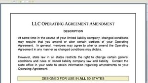 LLC Operating Agreement Template - Drafted & Approved by a NJ CPA