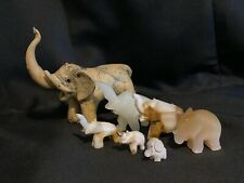 GOOD LUCK Elephant Lot All Hand Carved Onyx Marble Alabaster Quartz Marble Wood